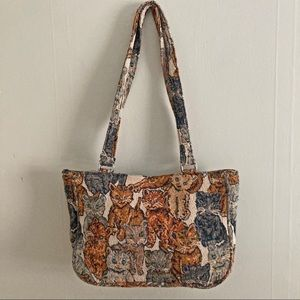 Cat print fabric shoulder bag
